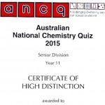 "Erfolgreiche Teilnahme am ""Australian National Chemistry Quiz"""